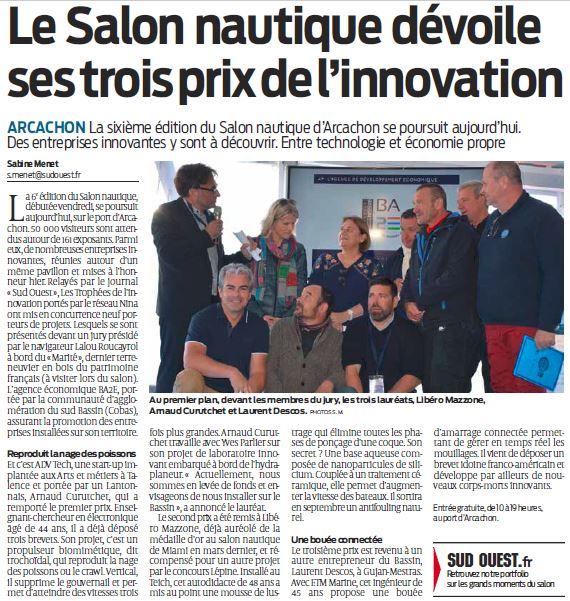Advtech, Article Sud Ouest Lauréat Salon Nautique 2019